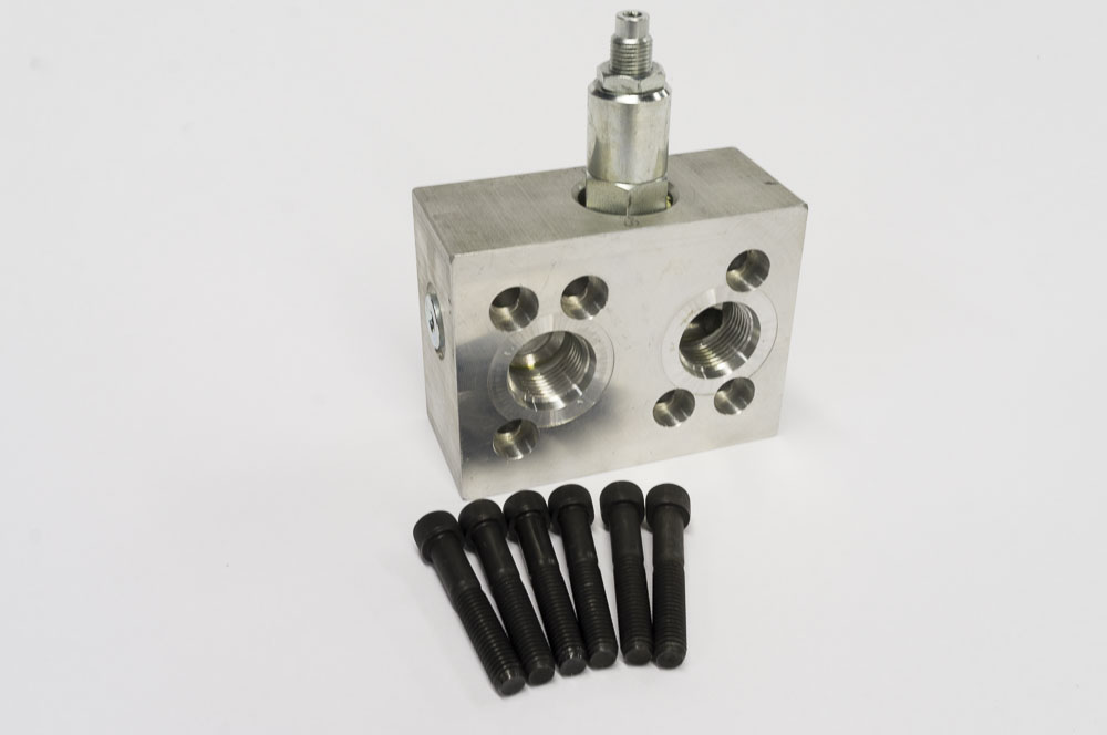 Brush cutter high flow hydraulic relief block fits Hydraulic motor for brush cutter